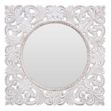 Helga Large White Square Wall Mounted Mirror Fleur De Lis Scrolled Ornate Frame