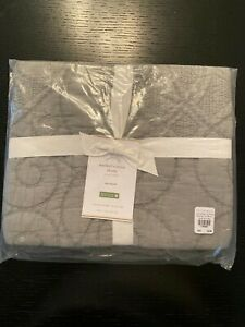 Pottery Barn Washed Cotton Quilted STANDARD Sham Platinum Gray SET of 2