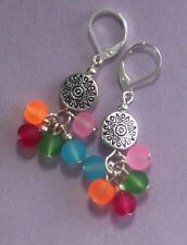 carnival BALLOON shapes FROSTED GLASS drop earring SP HANDCRAFTED