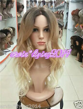 Fashion Ladies lace Front Wig Curly Long Wavy hair brown Blonde mix wigs