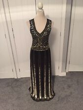 QUIZ BLACK GOLD SEQUIN MAXI LONG EVENING GATSBY GOWN 1920s OCCASION DRESS SZ 10