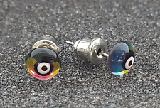 3D Nazar Boncuk Regenbogen Ohrstecker Ohrringe Evil Eye Earrings Magisches Auge