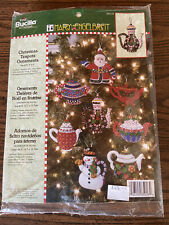 Bucilla Mary Engelbreit Christmas Teapots Felt Ornaments Kit- 85018 Set of 8