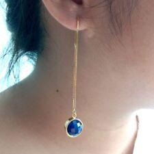 5.5''Natural Lapis Gold Plated Ear Thread Earrings Long Thin modern earrings