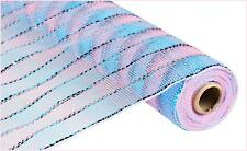 Deco Mesh Pink & Blue w Foil Thread  21 inch 10 yard roll cb16cs re1051x6 NEW