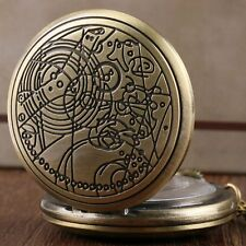 Retro Design Quartz Doctor Who Pocket Watch Long Chain Bronze/Silver Xmas Gift