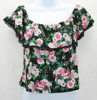 Roommates Women's Junior's Top On or Off Shoulder Crop Multi Colored Floral L