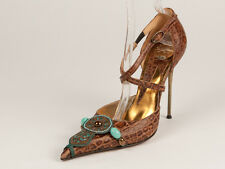 New  Hamlet Couture Brown Leather Stiletto Pumps Size 38 US 8