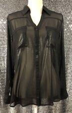 Express Portofino Shirt Limited Edition Size L Gunmetal Sheer Button Blouse NWT