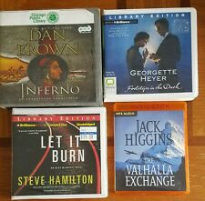 4  mystery AUDIOBOOK LOT Inferno Dan Brown Footsteps In The Dark Georgette Heyer