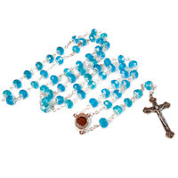 Rosary Prayer Beads INRI Light Blue Crystal Beaded w/ Holy Soil Jerusalem 22""