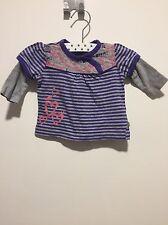 Noppies Shirt Lila Grau Gestreift Mit Rosa Print Gr 56