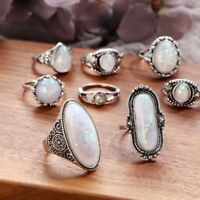 Silver Ring Woman Man White Fire Opal Moon Stone Wedding Engagement