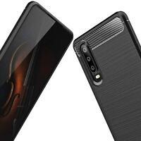 Für Huawei P30 Lite Pro Hülle Bumper Schutz schwarz Silikon Cover Handy Carbon