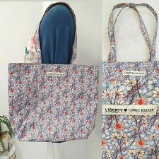Liberty London For Comic Relief Tote Shopping Bag Blue Floral
