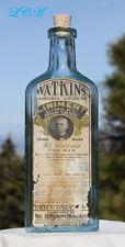 LARGE old WATKINS OPIUM LINIMENT aqua ANTIQUE bottle BIM w/ label MAN or BEAST