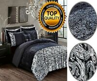 3 Pcs Duvet Quilt Cover Set with Pillow Cases Crushed Velvet Black Bedding Set