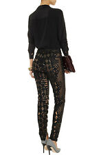 $10000 BALMAIN OMG AMAZING CROCHET LACE TULLE NUDE BLACK PANTS FR 40 US 4
