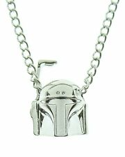 OFFICIAL STAR WARS BOBA FETT 3D GUN METAL PENDANT ON CHAIN NECKLACE *NEW*