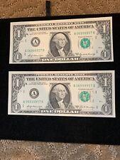 $1 CRISP UNC 1969 DOUBLE MATCH  FED. RESERVE NOTE #06999957