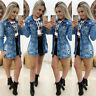 Women's Ripped Hole Denim Jacket Ladies Casual Buttons Jeans Long Sleeve Coat