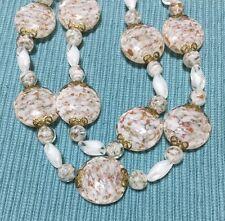 Vintage Venetian Murano Italy Aventurine Glass White Gold Medallion Necklace