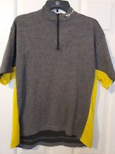 Greg Lemond Vtg. Cycling Shirt Jersey 1/4 Zip Pullover Gray Sz L Pre-owned