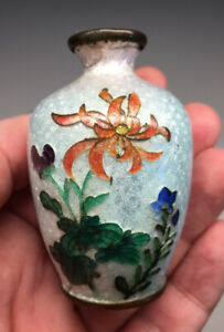 Antique MINIATURE Foil Guilloche Cloisonne Enamel Ginbari Flower Vase Japanese