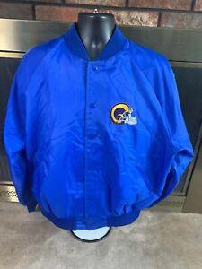 Los Angeles Rams Satin Snap NFL Football Jacket Mens Size XL Vintage Blue