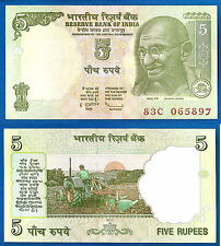 India 5 Rupees 2011 UNC Gandhi Tractor Free Postage Worldwide