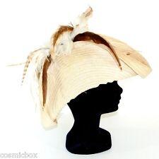 CHAPEAU taille S / M de cérémonie CHERI BIBI beige écru & plume femme French hat