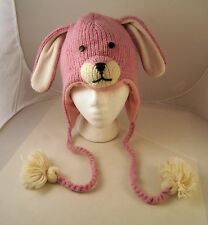 deLux BUNNY RABBIT HAT knit pink FLC LINED animal costume ADULT cap toque Easter