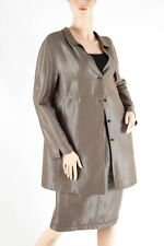 CHADO RALPH RUCCI – Shimmering Platinum Jacket Coat Skirt Suit Set – Size 14