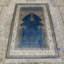 Yilong 3'x5' Blue Handmade Family Carpet For Prayer Hand Knotted Silk Rug 214B