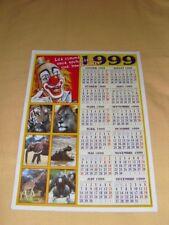 Calendrier 1999 CIRQUE Cartonnée Animaux Clown (Zavatta Pinder Gruss)