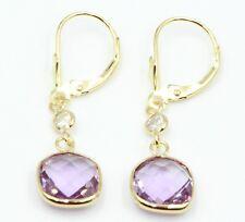 Purple Amethyst & Cubic Zirconia Dangle Earrings,14K Yellow Gold Leverbacks