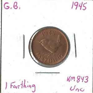 Coin Great Britain 1 Farthing 1945, KM843, Combined shipping