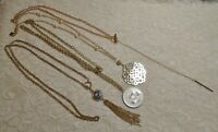 VINTAGE TO NOW LONG GOLD TONE CHAIN TASSEL PENDANT NECKLACE LOT