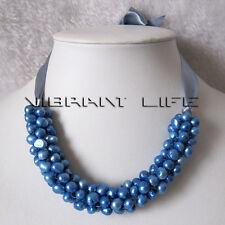 "18"" 7-8mm Blue Freshwater Pearl Bib Necklace Gray Ribbon UE"