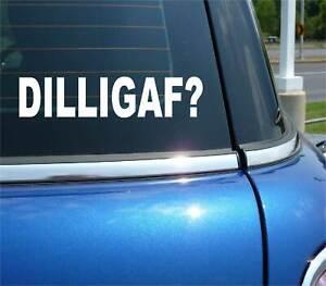 DILLIGAF DO I LOOK LIKE I GIVE A F*** FUNNY CAR DECAL BUMPER STICKER CLASSIC