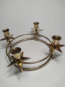 Vintage Brass Candle Holder 4 Hole Table Candelabra whit stars