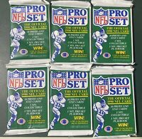 NFL 1990 Pro Set Football SIX PACKS (6) Series 1 from FACTORY SEALED BOX
