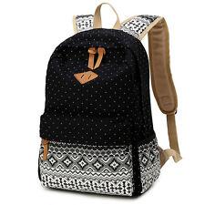 Fashion Women Men School Shoulder Backpack Rucksack Canvas Cute Travel Bag Black