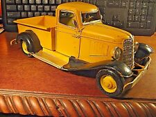 VINTAGE STYLE YELLOW METAL HAND MADE PAINTED TRUCK FARM FORD CHEVROLET DODGE GMC