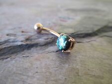 Green Faux Opal Rose Gold Titanium Plated Belly Button Navel Ring Body Jewelry