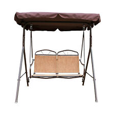 2 Person Swing Outdoor Patio Canopy Awning Yard Furniture Hammock Metal Brown