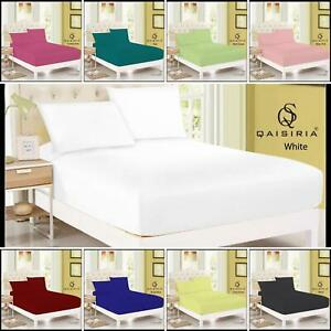 """EXTRA DEEP FITTED BED SHEETS 40CM/16"""" POLY COTTON SINGLE DOUBLE KING SUPER KING"""