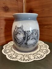 PAIR OF WOLVES CERAMIC VASE BY CHILLY IN IOWA