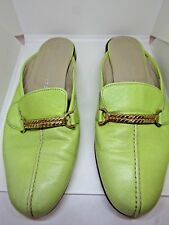 STUBBS AND WOOTON Green Leather Slip On Slides/Mules Size 7.5