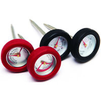 "Broil King 2"" Mini BBQ Thermometer in Stainless Steel w Silicone Bezel - 4 Pack"